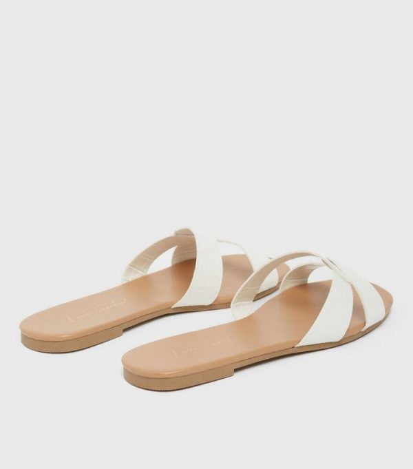New Look Faux Croc White Twist Slippers