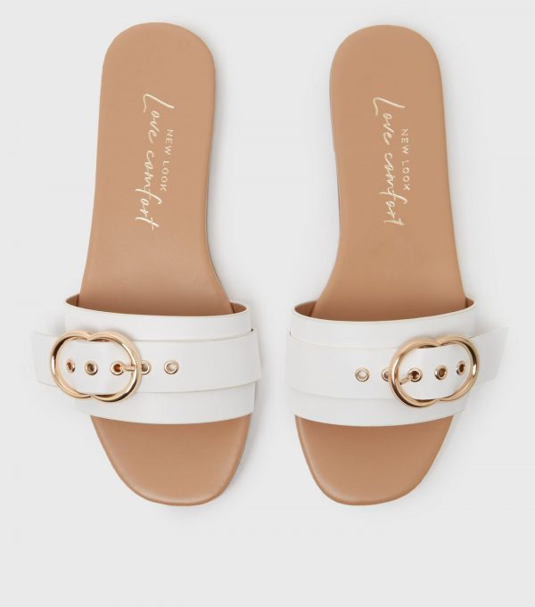 New Look White Buckle Slippers